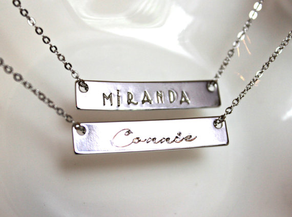 Свадьба - Name Plate bar necklace Nameplate necklace Personalized necklace Celebrity Inspired Necklace Trending Jewelry