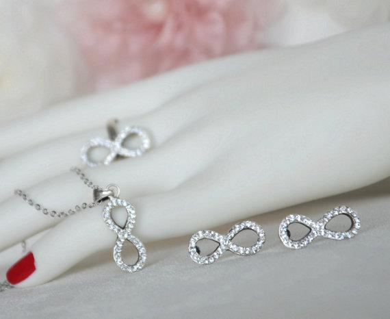 Mariage - infinity art deco clear crystal swarovski rhinestone necklace earrings ring wedding bridal jewelry bridesmaids jewelry set gift