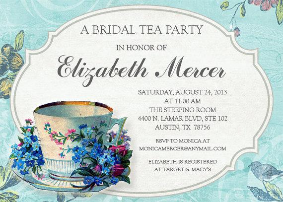 Vintage Tea Party Wedding Invitations: Vintage Bridal Tea Invitation #2348355