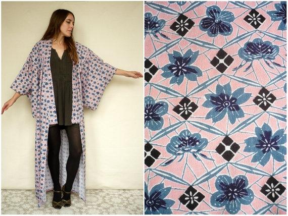 Vintage Japanese Deco Full Length Kimono Robe Duster Jacket  2348356 ... b73ccfbcf