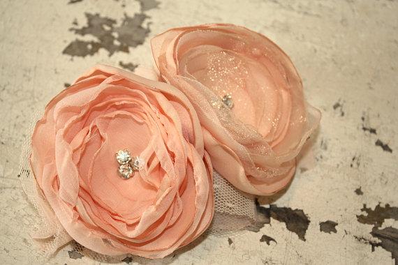 Свадьба - Peach bridal fascinator for birdcage veil, Peach bridesmaid hair clip, peach fabric flower girl headband