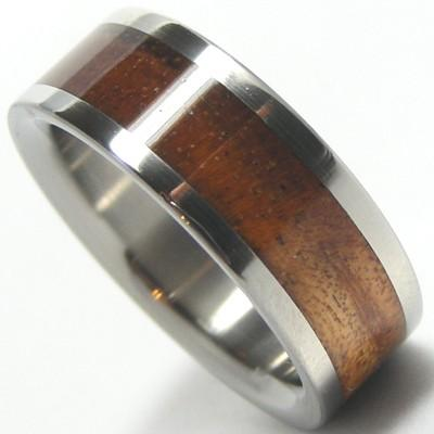 زفاف - Koa Wood Wedding Band Ring Custom Designed Titanium Aircraft-Grade Size 4 5 6 7 8 9 10 11 12 13 14 15 16 17 18