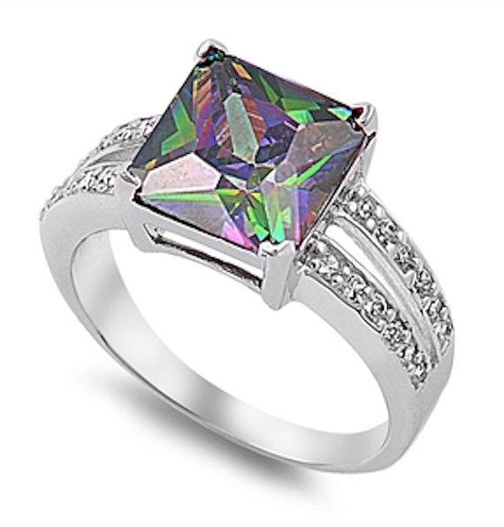 Princess Cut Square Mystic Rainbow Topaz Solid Stelring