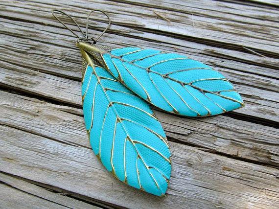 Hochzeit - Leaf earrings turquoise dangle earrings boho earrings Beach wedding Bohemian jewelry trendy jewelry