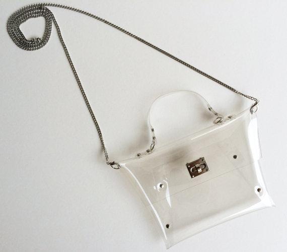 Mariage - Cute Clutch Clear Clutch with chain for Cross Body Shoulder, Party Clutch, Wedding Clutch, Clutch, Bag , Purse/ Transparent/ Medium