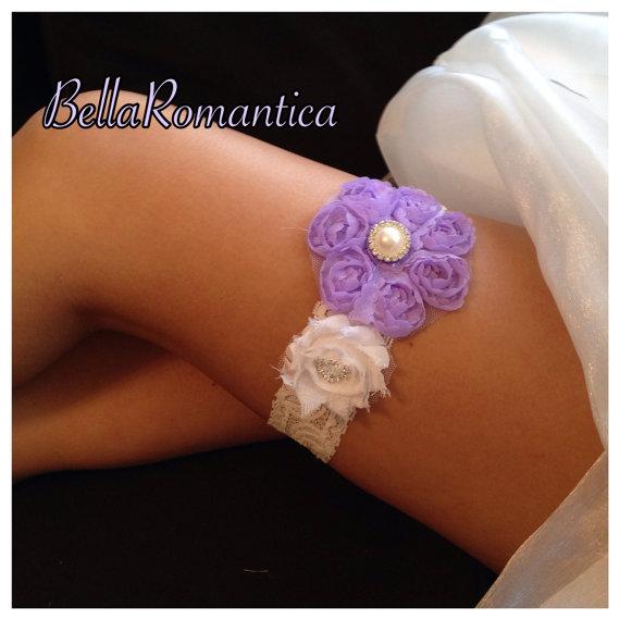 Wedding - Lavender and White Garter