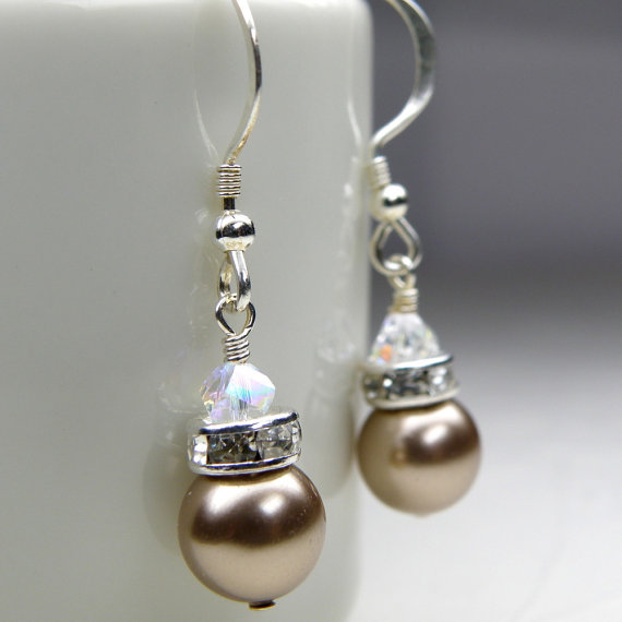 زفاف - Champagne Earrings, Beige Swarovski Pearl Drop, Sterling Silver, Bridal Party Handmade Jewelry, Tan Taupe Bridesmaid Wedding Gift