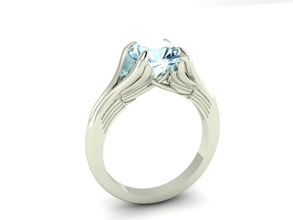 Hochzeit - Engagement Ring Angel Wings,  Genuine Natural Aquamarine Stone Set in 14k White Solid Gold, Wedding and Engagement ring