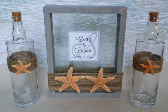 Starfish Sand Unity Frame Ceremony Set Includes Custom Monogram Pouring Vases Beach Candle Alternative Blended Family Cork Bottle