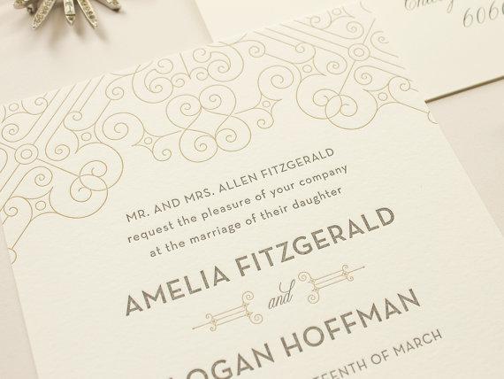 Mariage - Art Deco Wedding Invitation, Vintage 1920s Letterpress Invitations, Metallic Gold Letterpress Wedding Invite SAMPLE