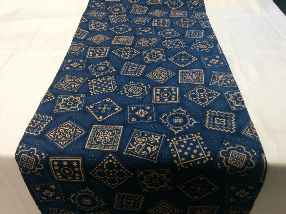 Mariage - BANDANA COWBOY LINENS Table Runner, Napkins, or Tablecloth Blue or Red cotton cowboy cowgirl rodeo party event photo shoot