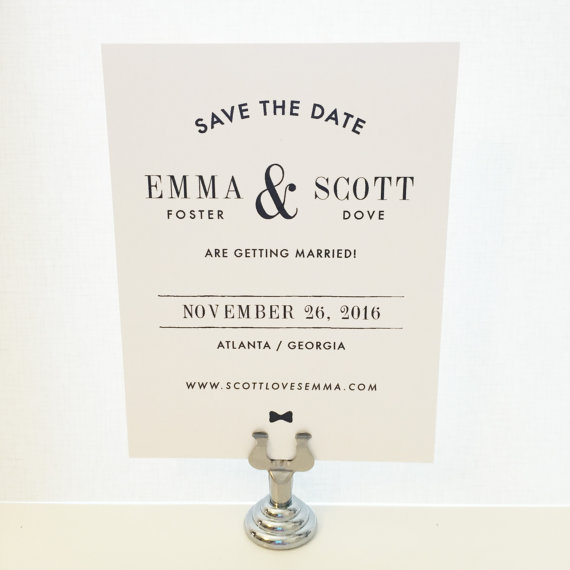 Mariage - Minimal Save the Date - Modern Save the Date, Stylish, Ampersand, Bow Tie, Classic, Contemporary, Wedding, Invitation, Simple - DEBONAIR