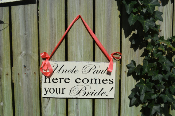 زفاف - And They Lived Happily Ever After with Here Comes the Bride wood wedding sign for Ring Bearer Flower Girl DOUBLE SIDED