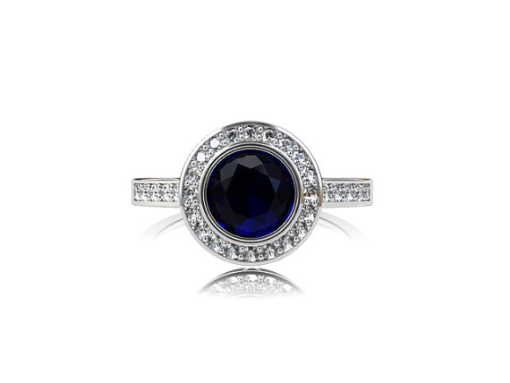 Mariage - Blue sapphire halo engagement ring, diamond ring, white gold ring, bezel engagement, sapphire halo, blue, diamond ring, vintage style