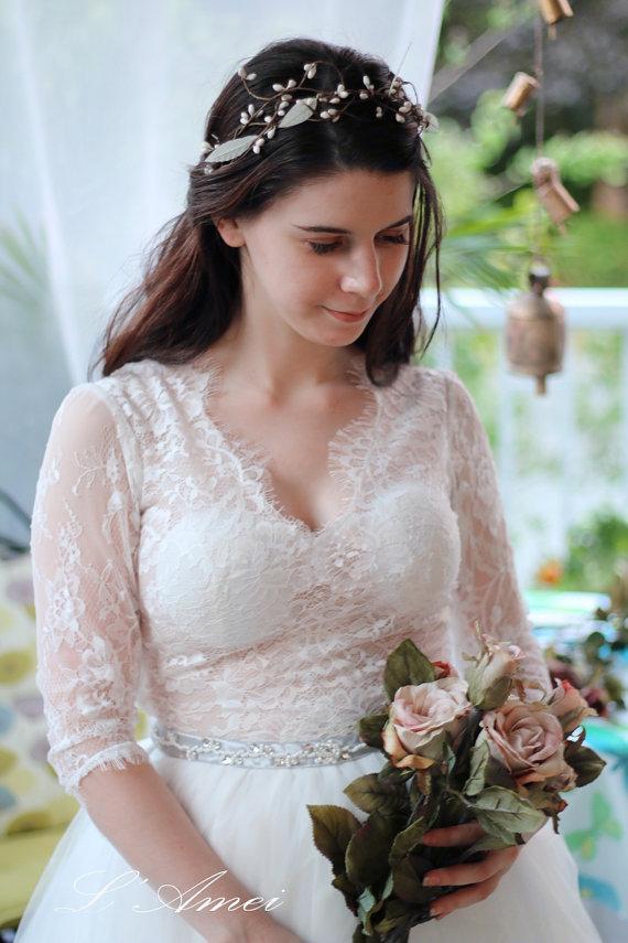 زفاف - Romantic Sexy Design Wedding Dress with Sheer Soft Lace Top  Lace Woodland Bridal Gown with  Long Sleeves - AM18945830