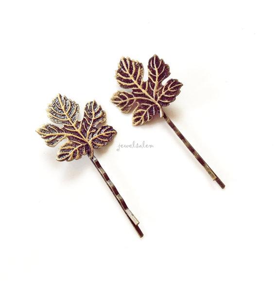 Mariage - Leaf Hair Pin Wedding Bridal Hair Accessories Brown Antique Gold Leaves Bridesmaids Hair Pin Set Fall Woodland Rustic Autumn Bohemian H1 WR