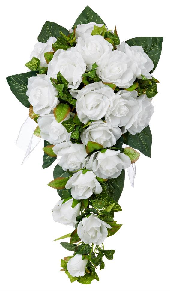 Mariage - White Silk Rose Cascade - Silk Bridal Wedding Bouquet