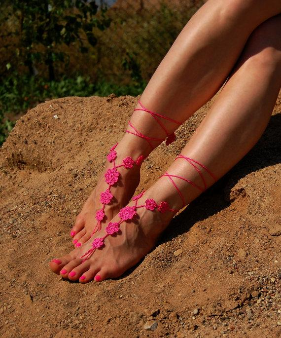 Barefoot Sandalsbeach Weddingbride Feet Jewelrybeach Shoes