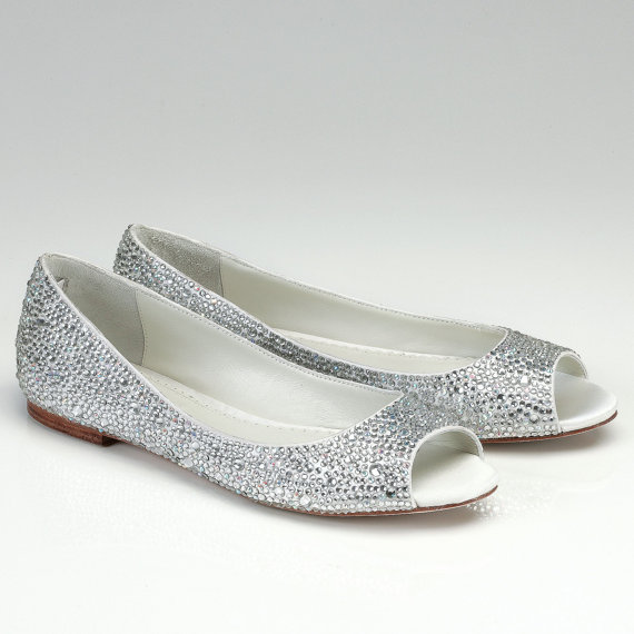 Mariage - Flat Wedding Shoes- Open Toes-  Silk Flat Bridal Shoes with Austrian crystals- Halle