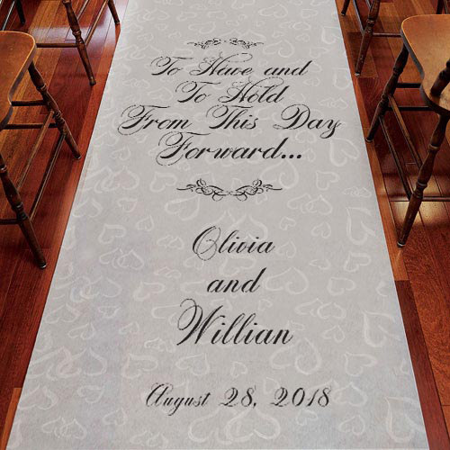 Mariage - To Have and To Hold Personalized Wedding Aisle Runner