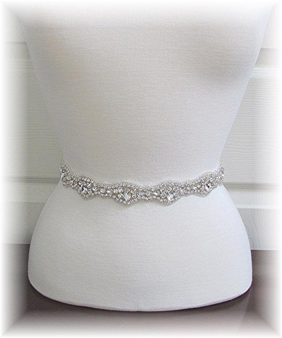 Mariage - Bridal Sash - Crystal Rhinestone Wedding Dress Sash - Bridal Belt - Bride's Sash