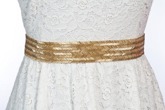 زفاف - gold wedding belt / sash - Beatrice