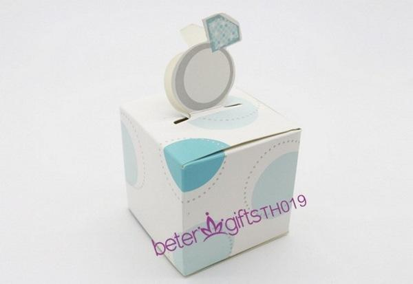 Hochzeit - 12pcs草間彌生圓點 歐式TH019藍色鑽戒喜糖盒子,糖果盒滿月酒誕生