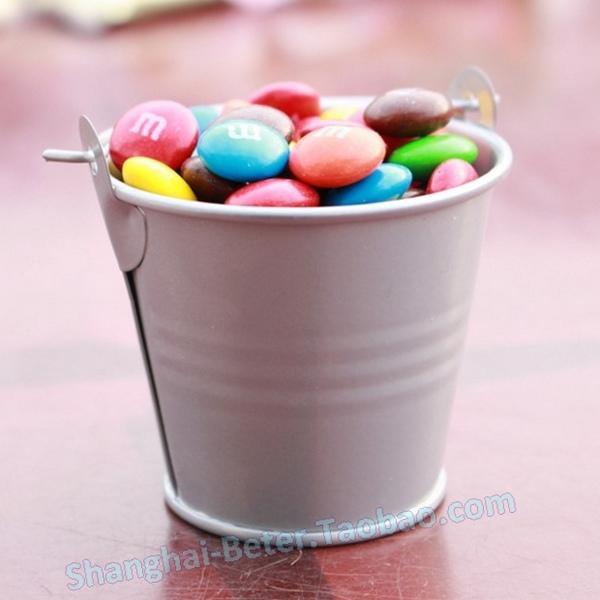 Wedding - 12pcs 生日派對禮品 五彩繽紛小鐵桶喜糖盒WJ034滿月酒回禮 布置