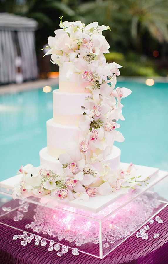 Beautiful Orchids On A Wedding Cake
