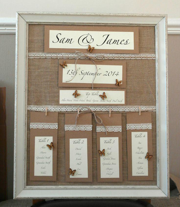 Hochzeit - Handmade Wedding Table Plan Vintage Style Personalised