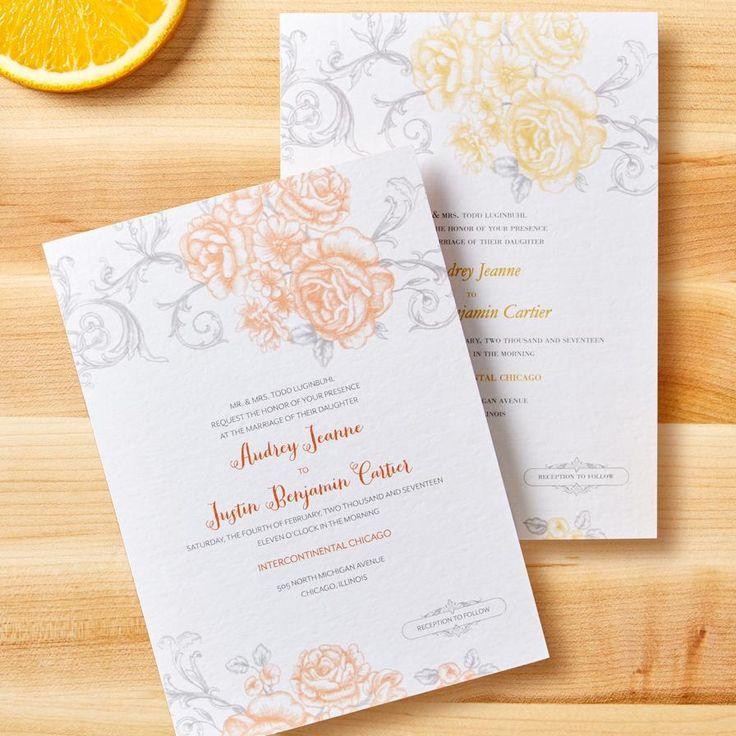 Mariage - Antique Rose Scrolls - Signature White Textured Wedding Invitations In Burst Or Watermelon