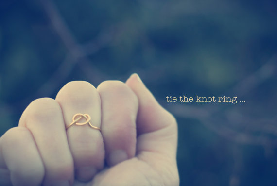 Mariage - Tie The Knot Ring, Knuckle Ring, Bridesmaid Ring, Gold Love Knot Ring, Infinity Knot Ring, Adjustable Knot Ring