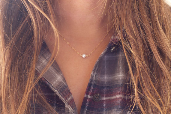 Tiny Pearl Necklace, One Pearl Necklace, Single Pearl, Freshwater