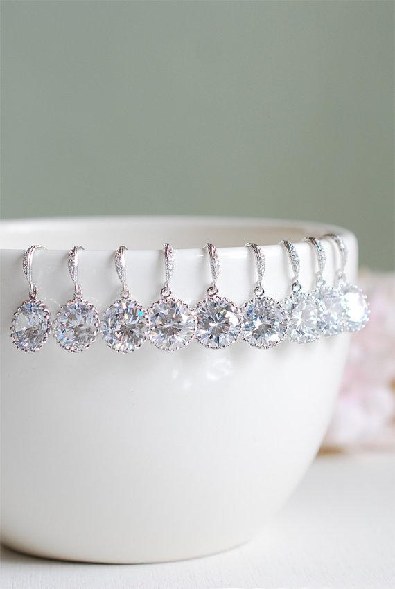 Mariage - Set of 6, Six Pairs Bridal Earrings, Wedding Earrings, Silver Cubic Zirconia Earrings. Bridesmaid Earrings, Clear Crystal Drop Earrings