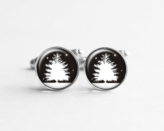 Mariage - Tree Cufflinks Cuff Links, Winter Jewelry, Girlfriend Gift, Gift for Him, Men Accessories, Winter Wedding Party, C067