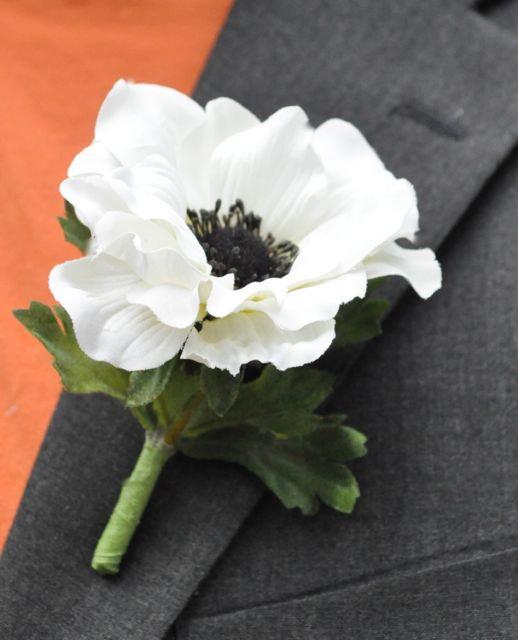 Wedding flowers white silk anemone with black center boutonniere wedding flowers white silk anemone with black center boutonniere mightylinksfo