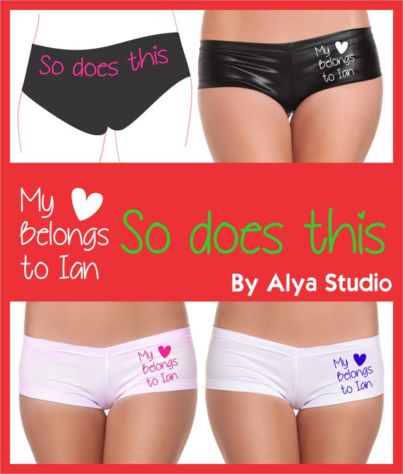 personalized underwear custom valentines bachelorette party bridal shower wedding gift custom panty lingerie my heart belongs to