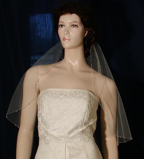 "Mariage - Crystal Beaded Edge Light Ivory  25"" long Bridal veil Swarovski Crystals Shining Rocaille Beads"