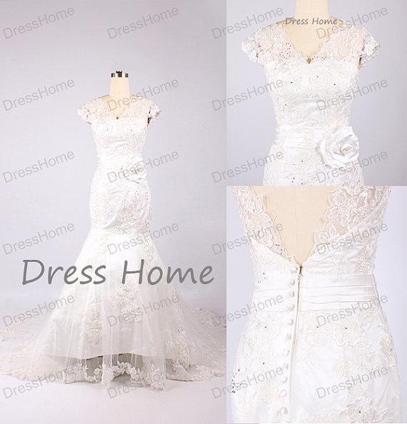Mariage - New Arrival Mermaid lace Wedding Dress - Fashion Wedding Dresses / Custom Bridal Gown / White Wedding Dress/Cap Sleeve Wedding Dress DH167