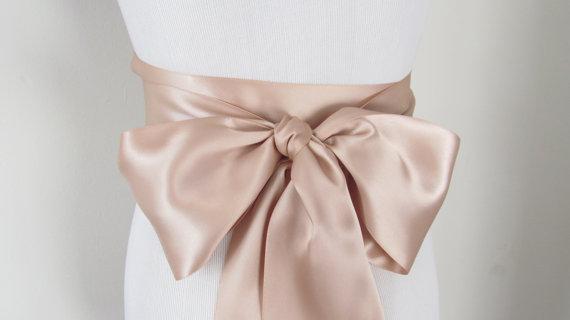 Mariage - Deep Champagne Ribbon Sash / Double Faced Ribbon Sash / Bridal Sash / Bridal Ribbon / Deep Champagne