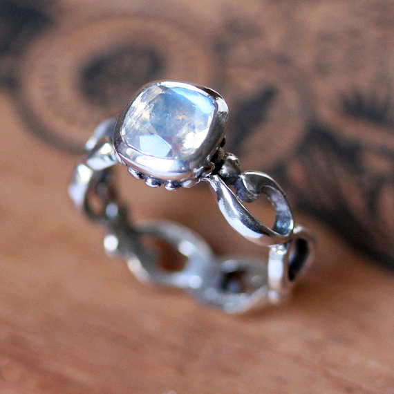 Mariage - Moonstone engagement ring - rainbow moonstone - cushion bezel - recycled sterling silver - infinity - Wrought ring - made to order