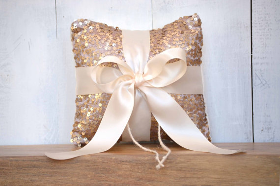 Mariage - Wedding Ring Bearer Pillow - Blush Sequin and Ivory Satin Bow