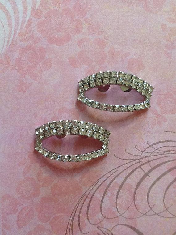 Mariage - Stunning Vintage Rhinestone Shoe Dress Clip Set perfect for Wedding or Bride 96 stones per clip!!