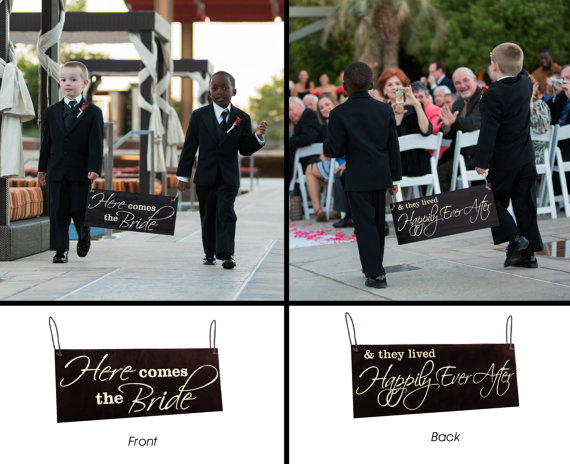 Mariage - Happily Ever After Sign Ring Bearer Sign Here Comes the Bride Sign Double Sided