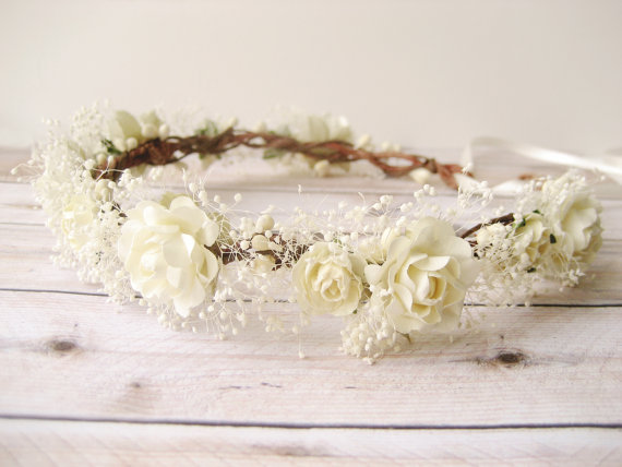 Mariage - Baby's breath flower crown, Rustic wedding hair accessories, Bridal headpiece, Ivory wreath, Floral headband - MERINGUE
