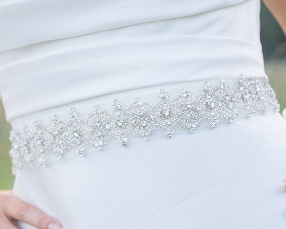 Свадьба - wedding rinhestone sash - Lenabelle