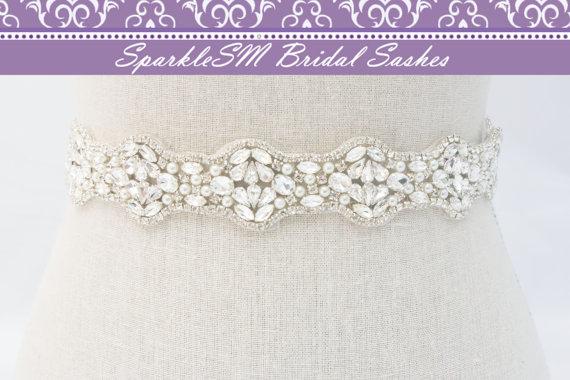 Mariage - Bridal Sash, Bridal Belt, Wedding Dress Sash, Wedding Dress Belt, Bridal Sash Belt, Pearl Bridal Dress Sash, SparkleSM Bridal Sashes, Hannah