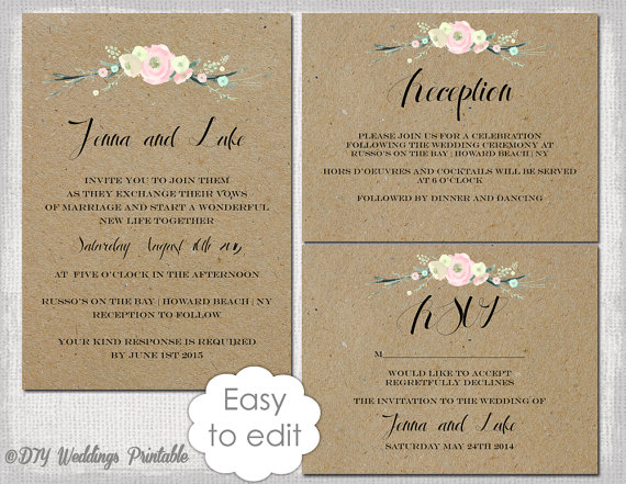 Rustic Wedding Invitation Templates Diy Flowers Printable Template Suite Kraft White Editable Digital