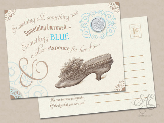 wedding bride something old new borrowed blue a lucky silver sixpence tucked in her your shoe wedding bridal shower gift card