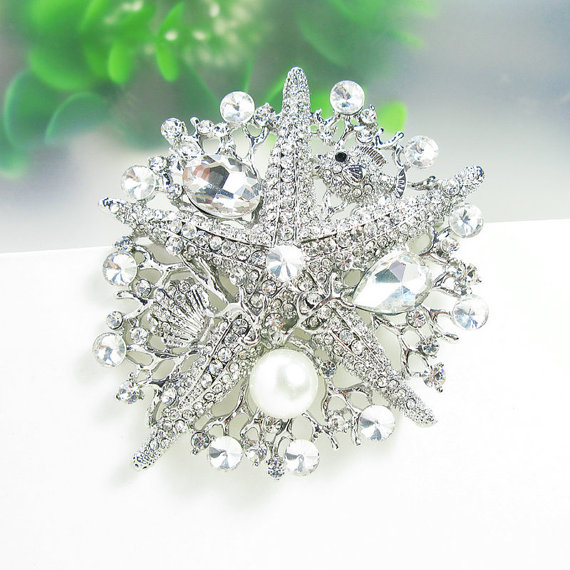Свадьба - EX-LARGE Rhinestone Brooch Wedding Brooch Wedding Brooch Wedding Bouquet Wedding Favors Starfish Brooch Wedding Decoration Wholesale Brooch